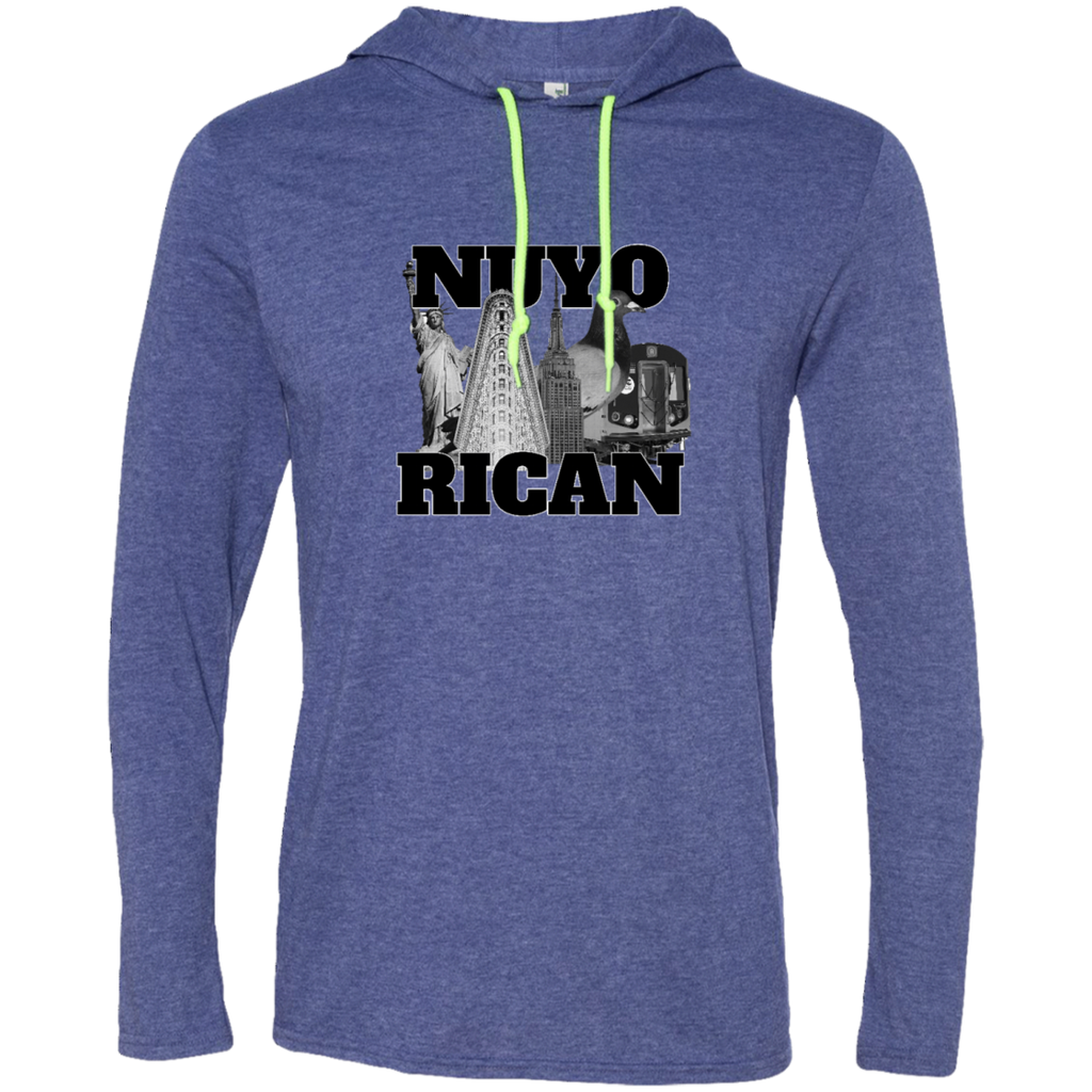 NuyoRican Elite 987 Anvil LS T-Shirt Hoodie - PR FLAGS UP