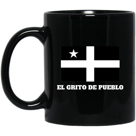 El Grito De Pueblo BM11OZ 11 oz. Black Mug - PR FLAGS UP