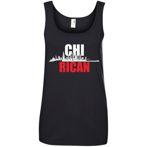 Chi Rican Ladies' 100% Ringspun Cotton Tank Top - PR FLAGS UP