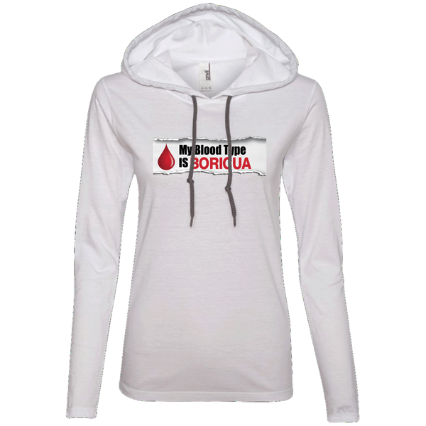 Blood Type Ladies LS T-Shirt Hoodie - PR FLAGS UP