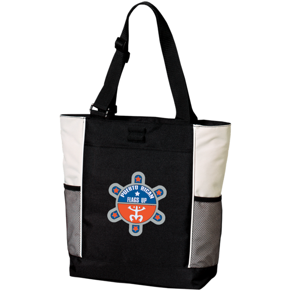 Puerto Rican Flags Up Personalized Colorblock Tote Bag - PR FLAGS UP
