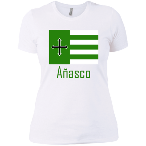 Añasco Flag NL3900 Next Level Ladies' Boyfriend T-Shirt - PR FLAGS UP