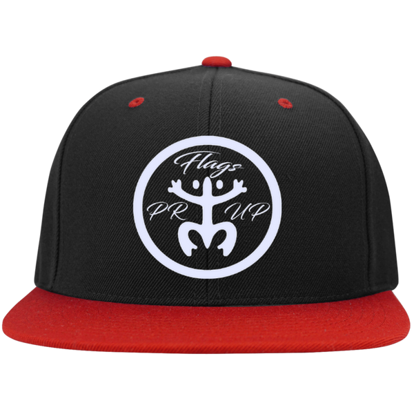 PR Flags Up Circle White Logo Flat Bill High-Profile Snapback Hat - PR FLAGS UP