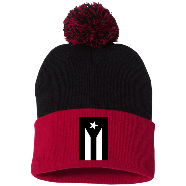 Black Flag of Puerto Rico SP15 Sportsman Pom Pom Knit Cap - PR FLAGS UP
