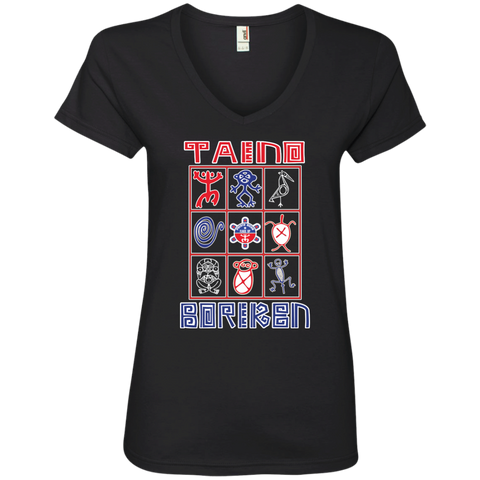Taino Boriken Ladies' V-Neck Tee - PR FLAGS UP