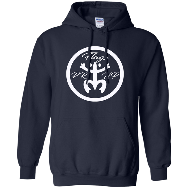 PR Flags Up Circle Logo White Pullover Hoodie 8 oz - PR FLAGS UP