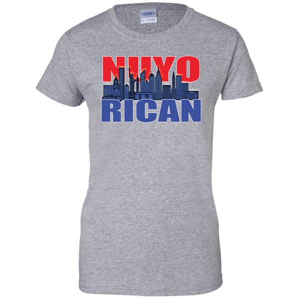 NuyoRican 2 Ladies Custom 100% Cotton T-Shirt - PR FLAGS UP