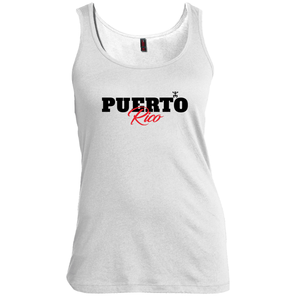 Puerto Rico Black Script 1 Women's Scoop Neck Tank Top - PR FLAGS UP