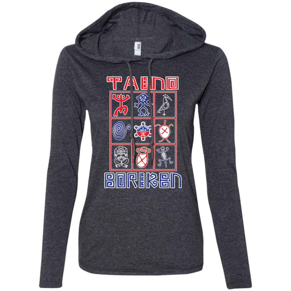 Taino Boriken Ladies LS T-Shirt Hoodie - PR FLAGS UP