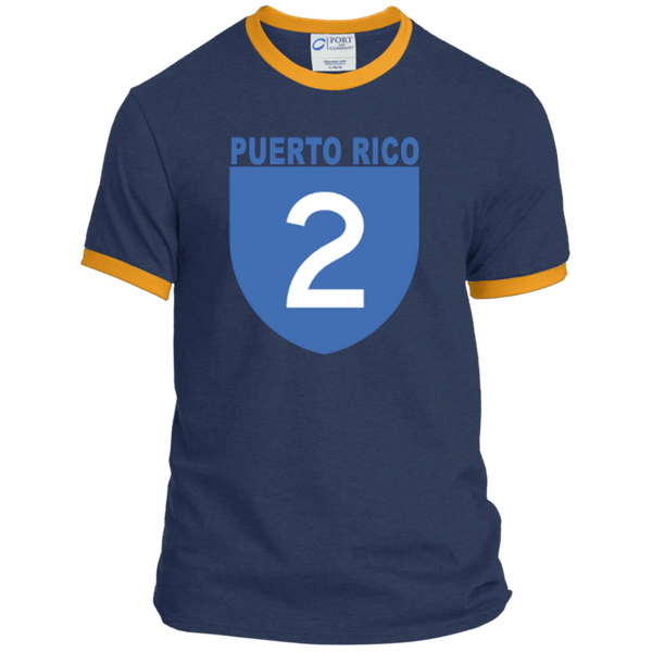 La Numero 2 PC54R Port & Co. Ringer Tee - PR FLAGS UP
