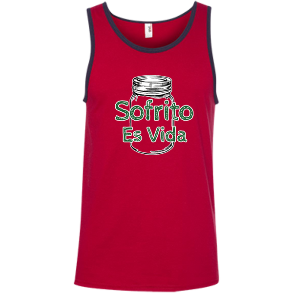 Sofrito Es Vida 100% Ringspun Cotton Tank Top - PR FLAGS UP