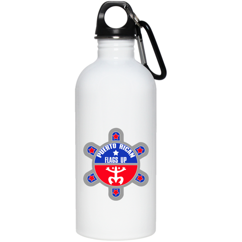 Puerto Rican Flags Up 20 oz Stainless Steel Water Bottle