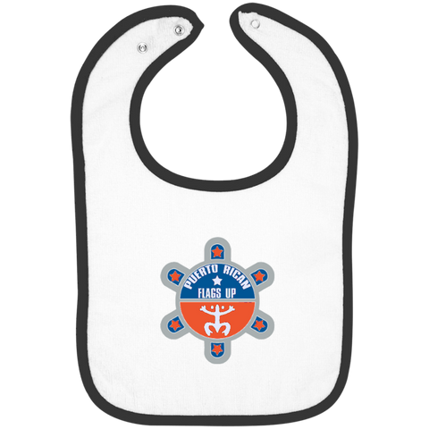 Puerto Rican Flags Up Infant Terry Snap Bib