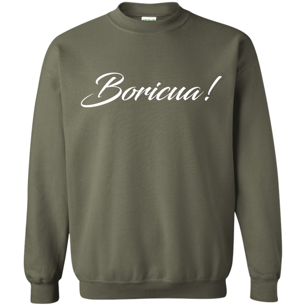 Boricua Script Printed Crewneck Pullover Sweatshirt  8 oz - PR FLAGS UP