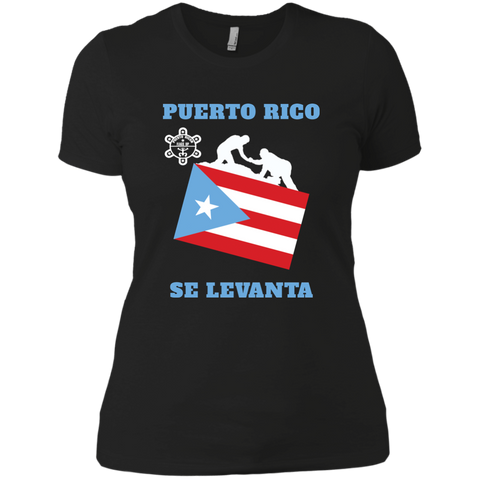 PUERTO RICO SE LEVANTA NL3900 Next Level Ladies' Boyfriend T-Shirt - PR FLAGS UP
