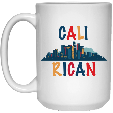 CaliRican 21504 15 oz. White Mug - PR FLAGS UP