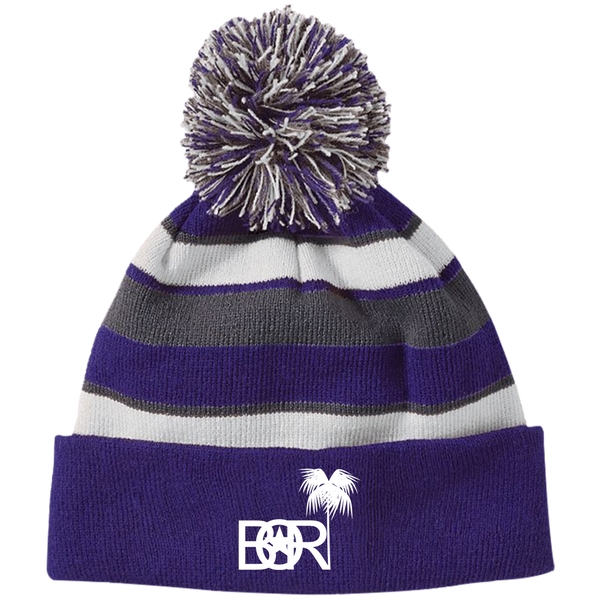 Bori 223835 Holloway Striped Beanie with Pom - PR FLAGS UP