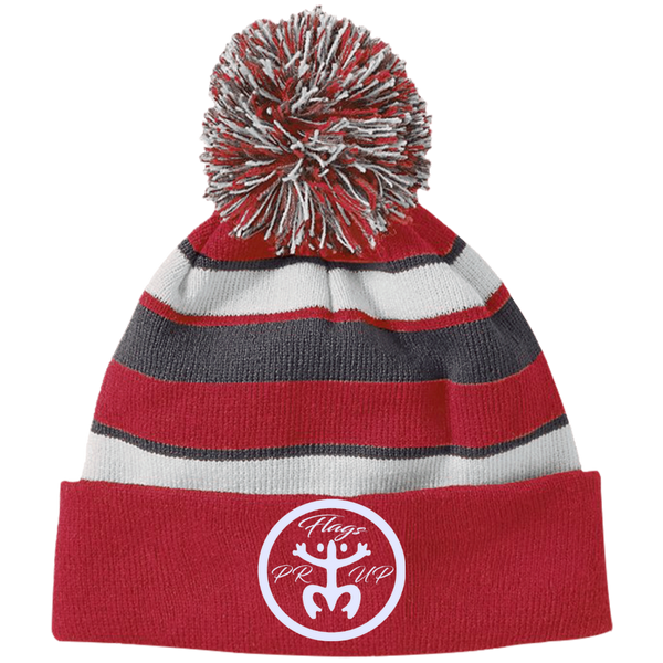 PR Flags Up Circle Logo White 223835 Holloway Striped Beanie with Pom - PR FLAGS UP