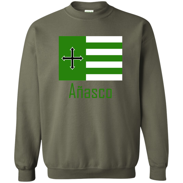 Añasco Flag G180 Gildan Crewneck Pullover Sweatshirt  8 oz. - PR FLAGS UP