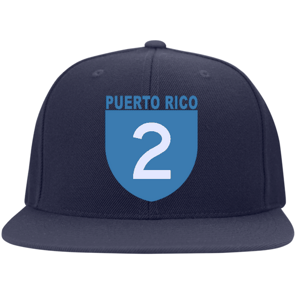 La Numero 2 6297F Yupoong Flat Bill Twill Flexfit Cap - PR FLAGS UP