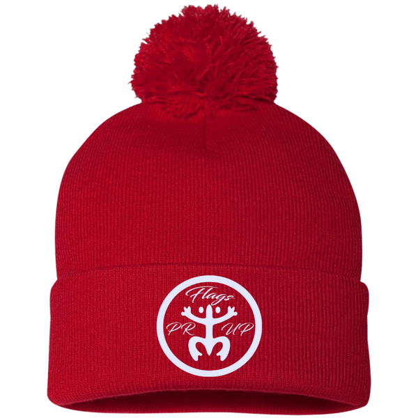 PR Flags Up Circle Logo White SP15 Sportsman Pom Pom Knit Cap - PR FLAGS UP