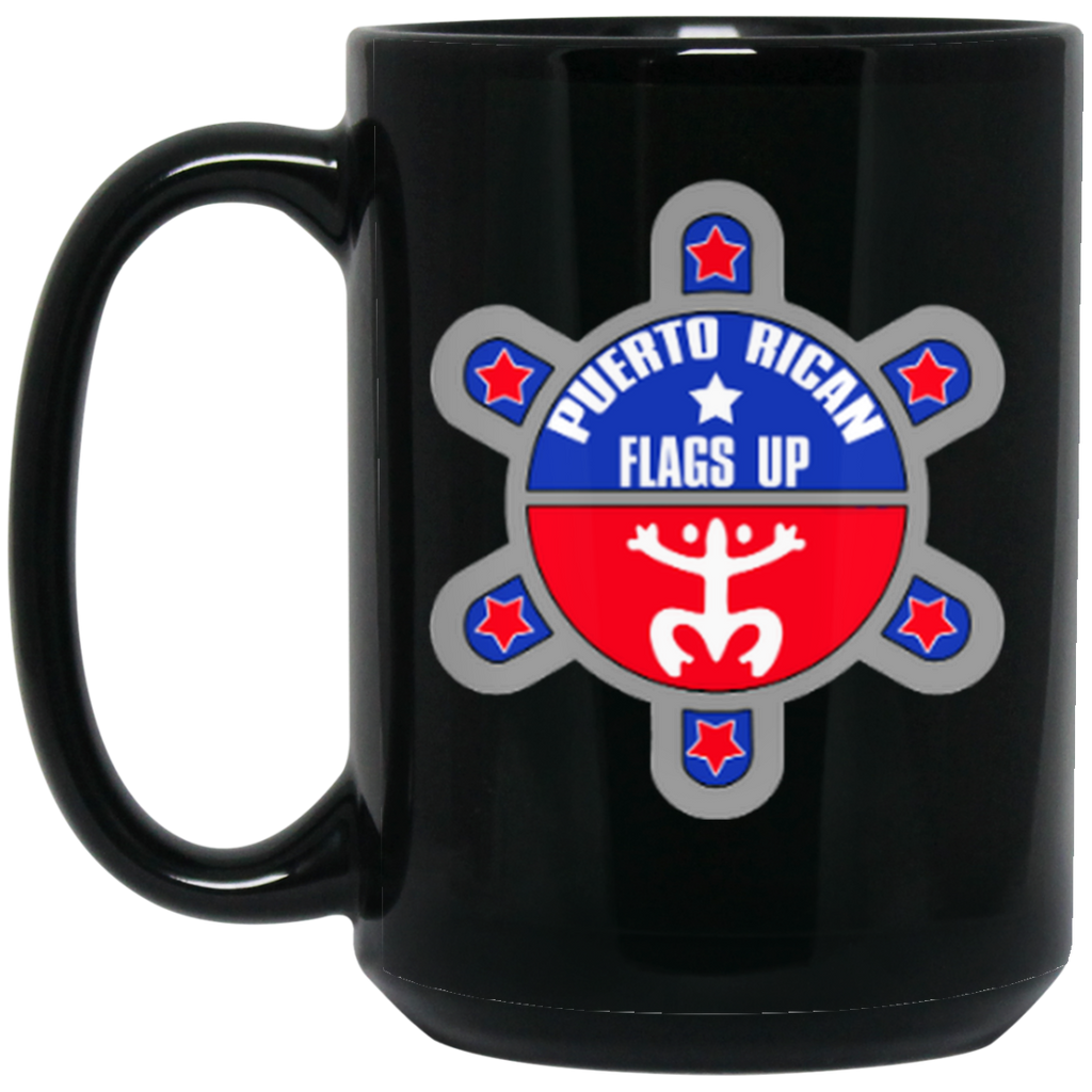 PR Flags Up Logo Black 15 oz. Mug - PR FLAGS UP