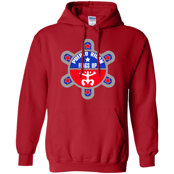 Puerto Rican Flags Up Pullover Hoodie 8 oz - PR FLAGS UP