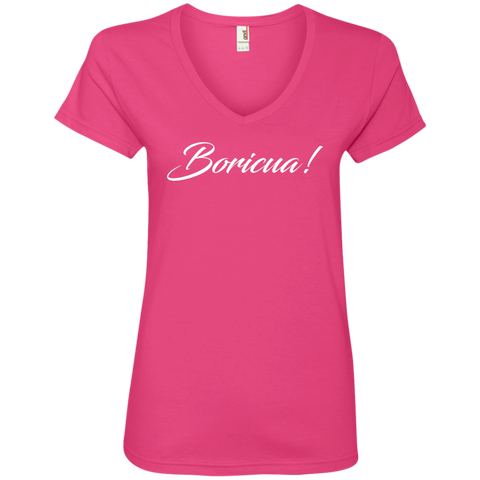 Boricua Ladies' V-Neck Tee - PR FLAGS UP