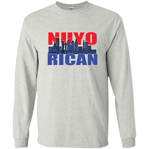 NuyoRican 2 LS Ultra Cotton Tshirt - PR FLAGS UP