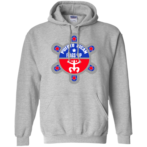 Puerto Rican Flags Up Pullover Hoodie 8 oz