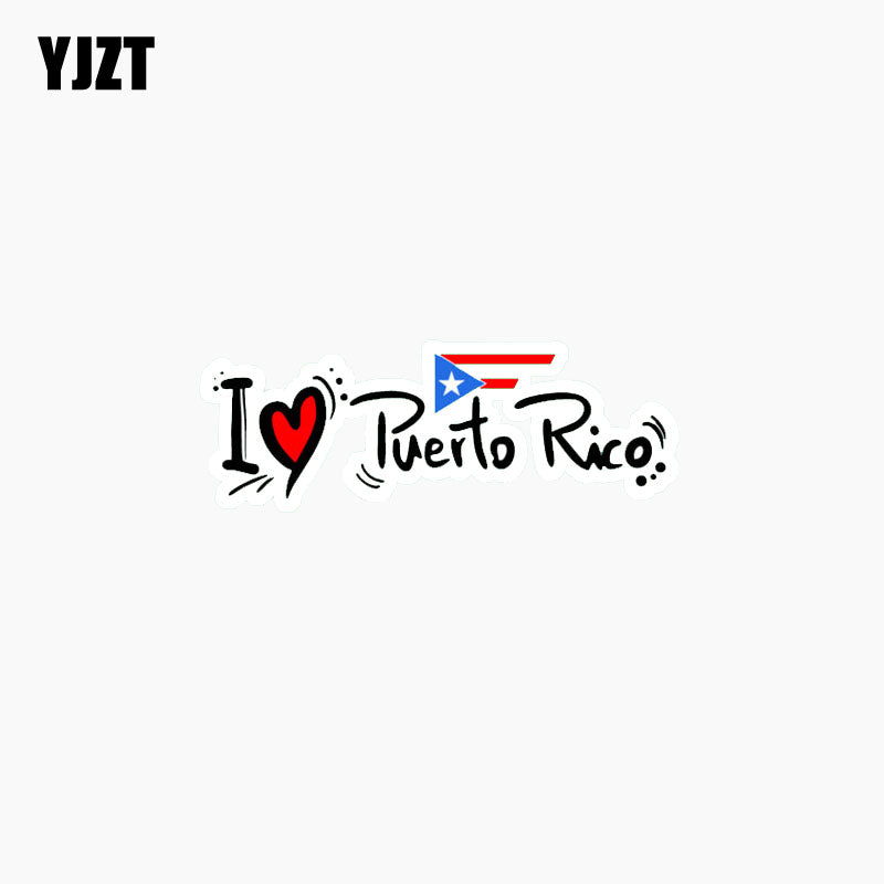I Love Puerto Rico Car Sticker Slogan Lnterest Car Window Reflective Decal C1-7776  11.6CM*4.3CM - PR FLAGS UP
