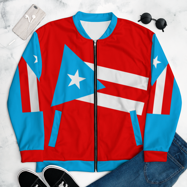 Puerto Rico Light Blue Flag Unisex Bomber Jacket