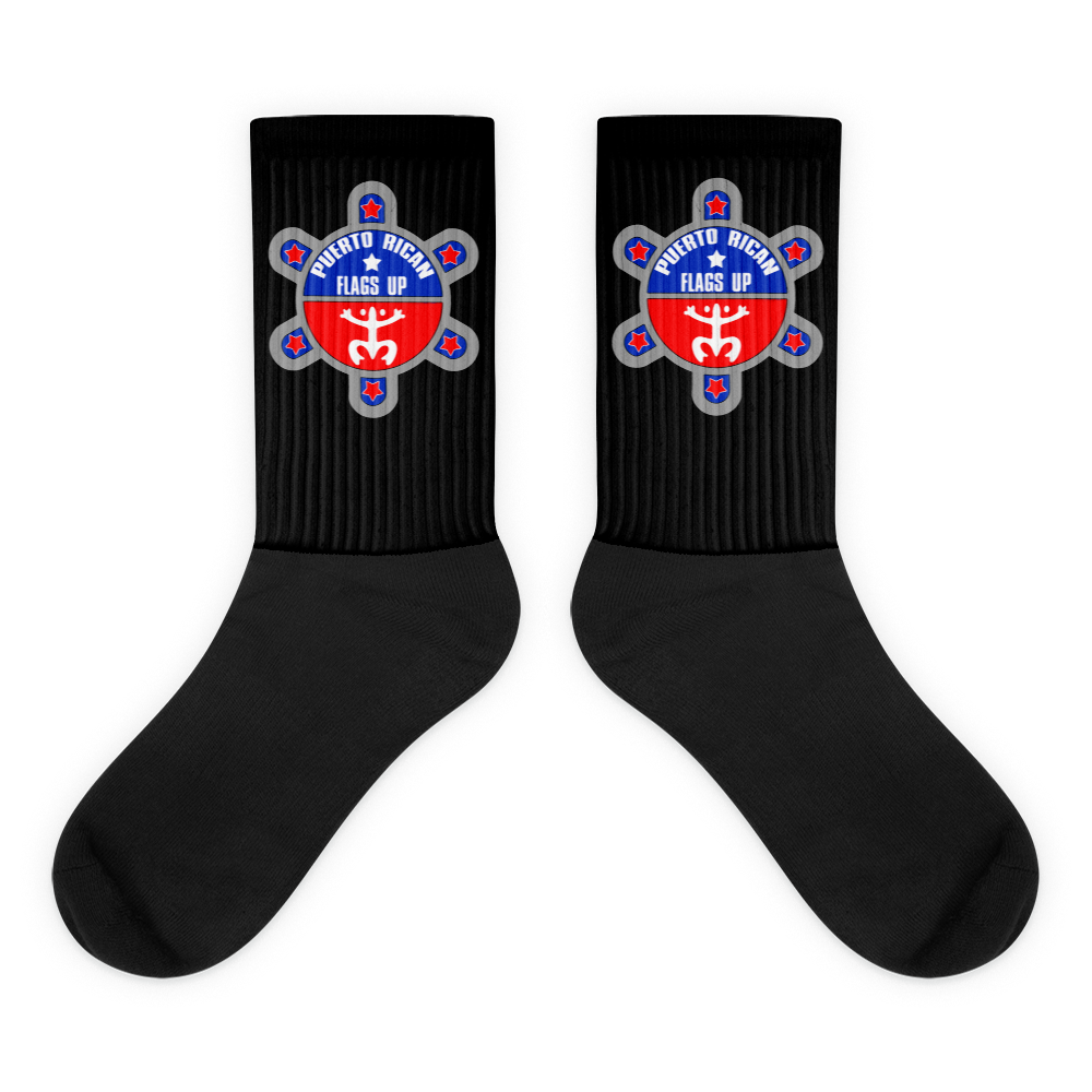 PR Flags Up Logo Black Socks - PR FLAGS UP