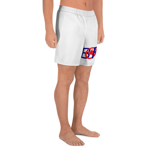 Bori Red & Blue Logo All-Over Print Men's Athletic Long Shorts - PR FLAGS UP