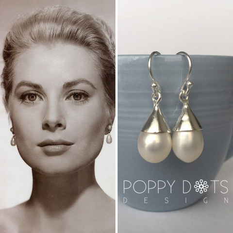 Poppy Dots Design Sterling Silver Pearl Drops