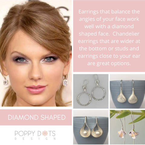 Earrings for diamond shaped face