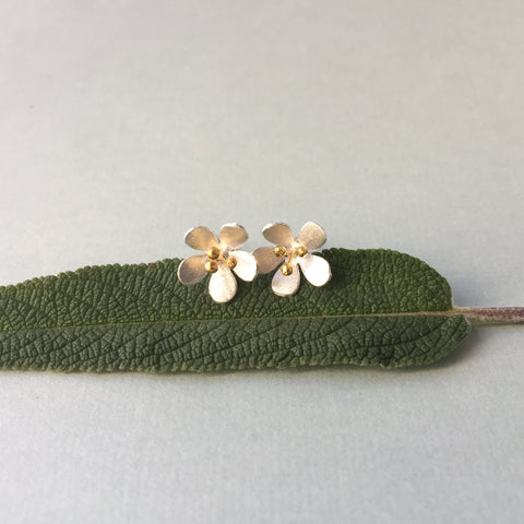 Sterling Silver & Gold Pear Blossom Studs