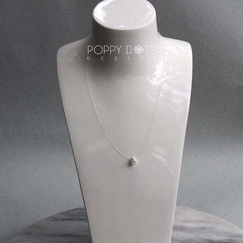 Sterling Silver Teardrop Zirconia on Gut Necklace