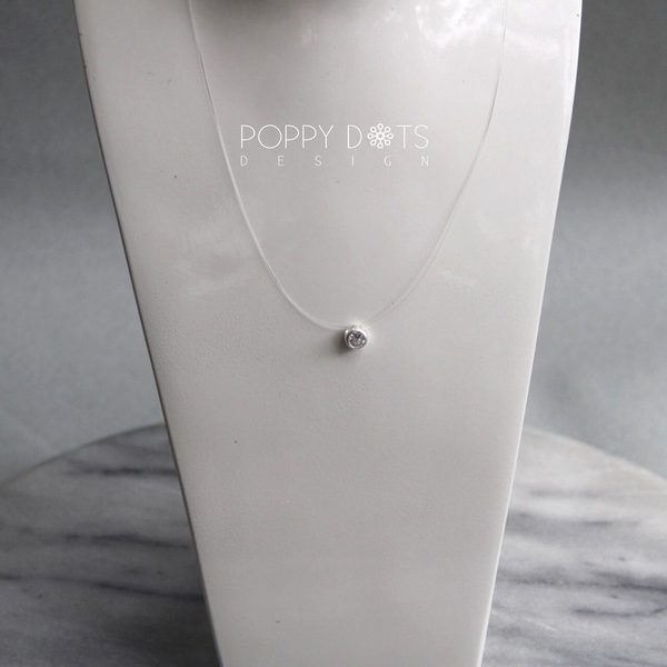 Sterling Silver Round Zirconia on Gut Necklace