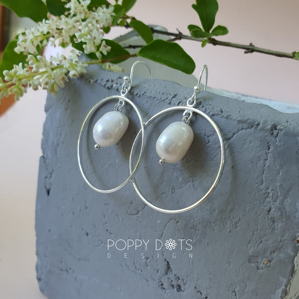Sterling Silver & Freshwater Pearl Risette earrings