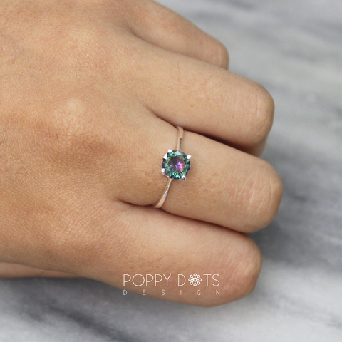 Sterling Silver & Round Mystic Topaz Ring (7 mm)