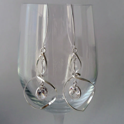 Sterling Silver Cubic Zirconia twisted Earrings