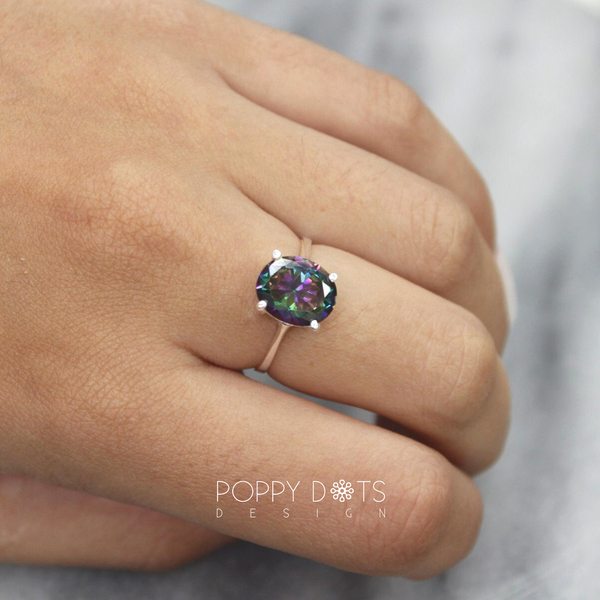 Sterling Silver & Oval Mystic Topaz Ring