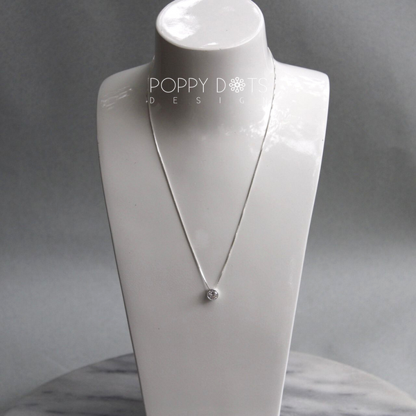 Sterling Silver & Round Zirconia Necklace