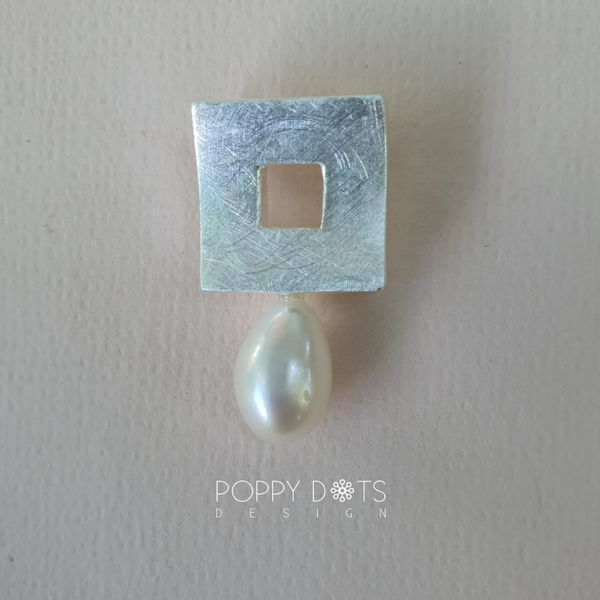 Brushed Square Sterling Silver & Pearl Pendant