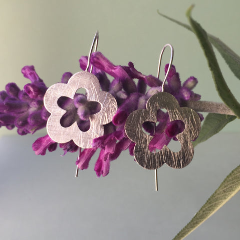 Brushed Sterling Silver Primrose Earrings