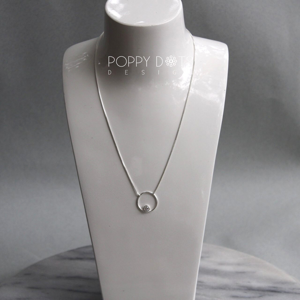 Sterling Silver Circle & Zirconia Necklace