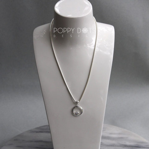 Sterling Silver Snake Chain & Zirconia Circle Necklace