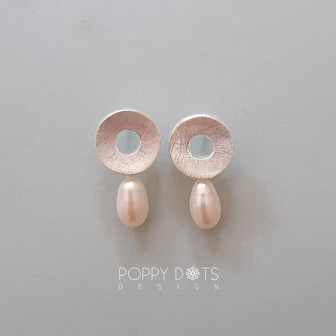 Brushed Circle Sterling Silver & Pearl Studs