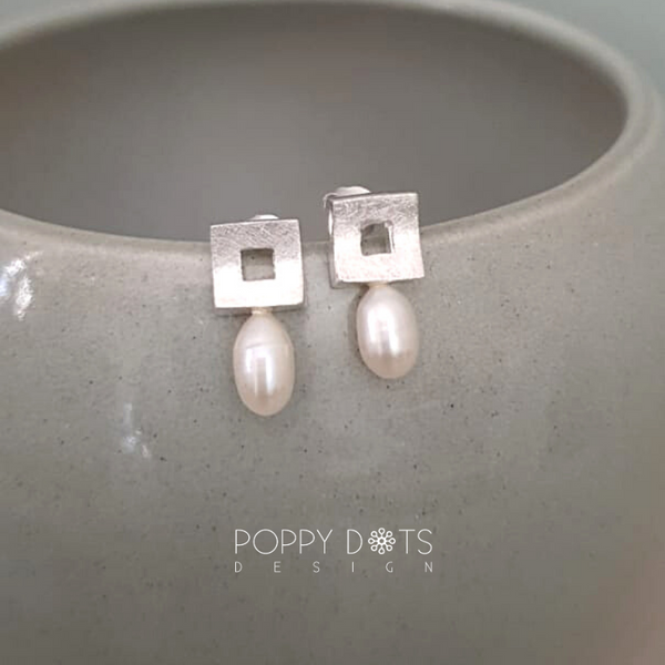 Brushed Square Sterling Silver & Pearl Studs